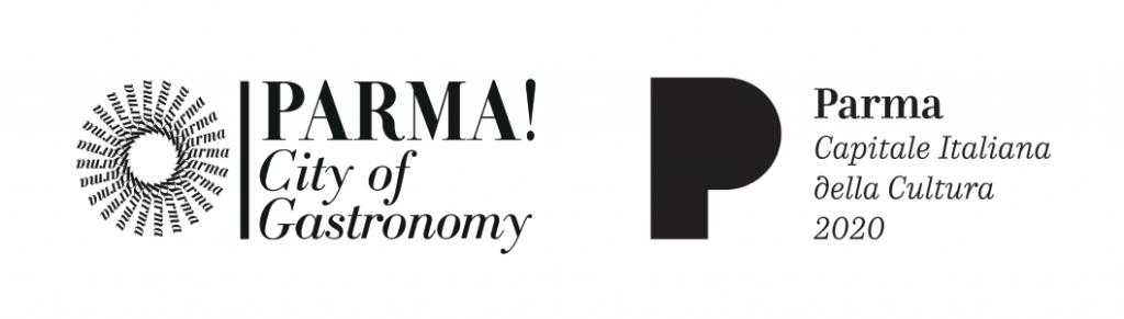 I loghi di Parma City of Gastronomy e Parma Capitale Italiana della Cultura 2020